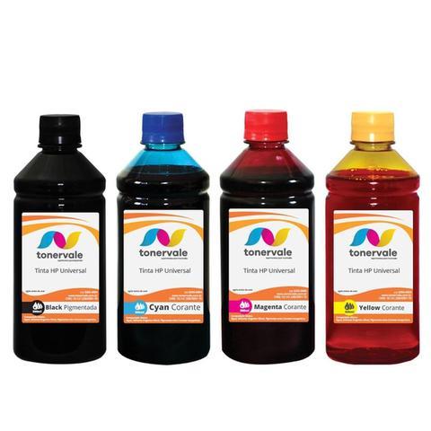Imagem de Kit 4 cores de Tinta para Recarga de Cartucho HP Universal Pigmentada e Corante com 500ml