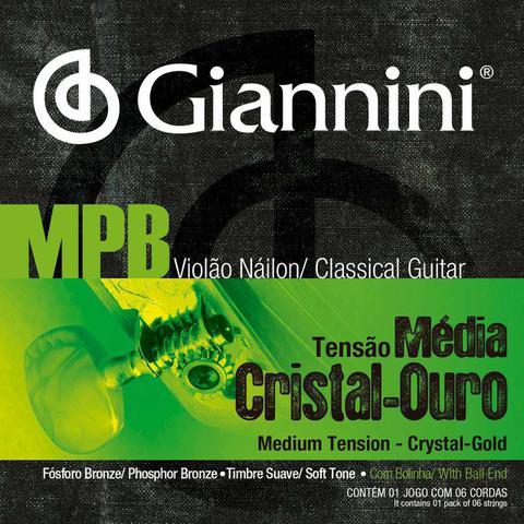 Imagem de Kit 4 Encordoamentos Violão Nylon Bolinha MPB Giannini GENWG