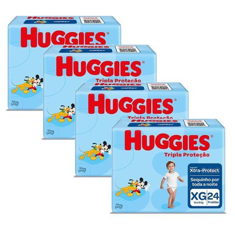 Imagem de Kit 4 Fraldas Huggies Tripla proteção JUMBO