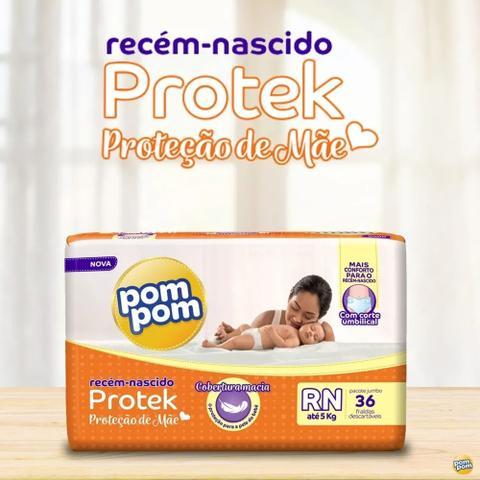 Imagem de Kit 4 Pacotes de Fralda Pom Pom Protek Proteção De Mãe Jumbo RN 144 Fraldas