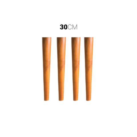 Imagem de Kit 4 Pés De Madeira Palito Retro Para Moveis 30 Cm