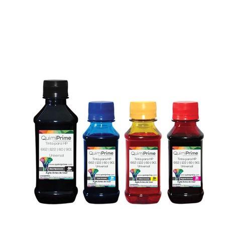 Imagem de Kit 4 Tinta Compatível para Recarga HP 662 122 60 901 Impressora 3050 2050 2546 de 250ml Black e 100