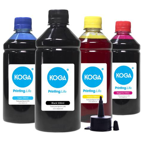 Imagem de Kit 4 Tintas para Impressora Epson L395  CMYK Corante 500ml Koga