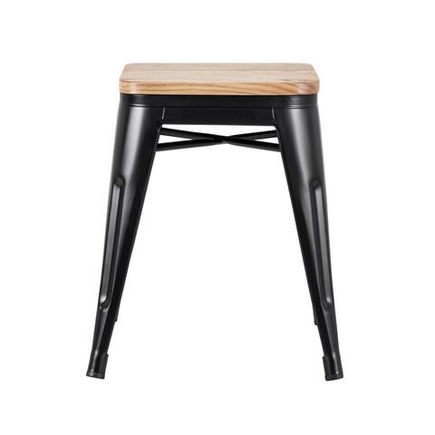Imagem de KIT - 4 x banquetas baixas Iron Tolix - Assento de madeira - Metal - Preto