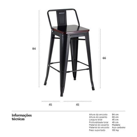 Imagem de KIT - 4 x Banquetas Iron Tolix 66 cm com encosto e assento de madeira - Preto