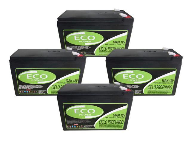 Imagem de Kit 4un Bateria Selada 10ah 12v Bike Elétrica Ciclo Profundo
