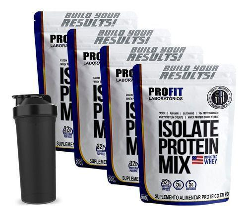 Imagem de Kit 4x Isolate Protein Mix Refil 900g + Coqueteleira - Profit Labs