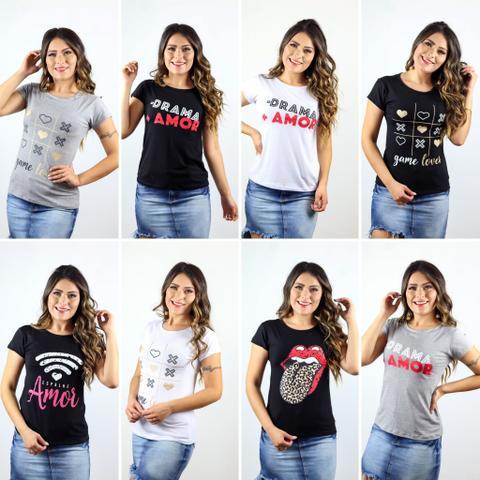 Imagem de Kit 5 - blusas t-shirt feminina estampas e cores variadas