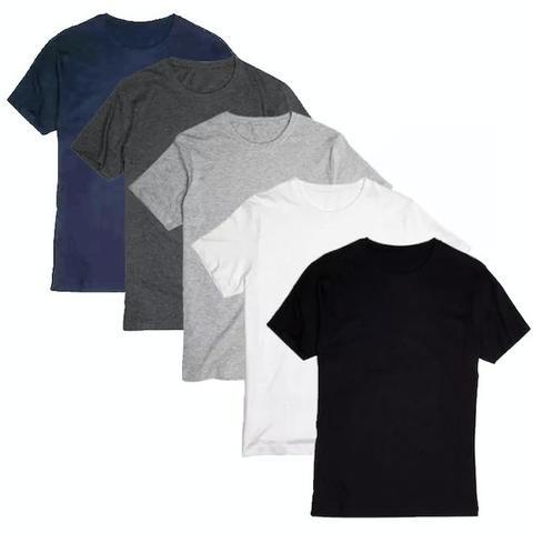 Imagem de Kit 5 Camisetas Masculinas Básica Lisa Algodão 30.1 Premium