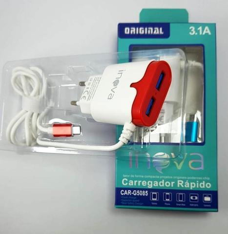 Imagem de Kit 5 Carregadores Rapido Inova Originais 3.1a Com 2 USB
