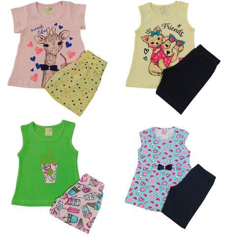 Imagem de Kit 5 Conjuntos Menina Verão, Roupa Feminina Cotton e Shorts