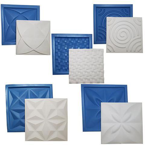 Imagem de Kit 5 Formas Borracha Com Plastico Para Placas Gesso 3d