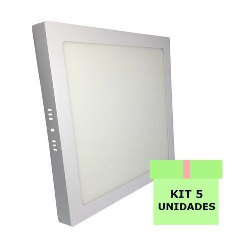 Imagem de Kit 5 Luminária Led Painel Plafon Sobrepor 25W Quadrado 30x30cm Branco Quente