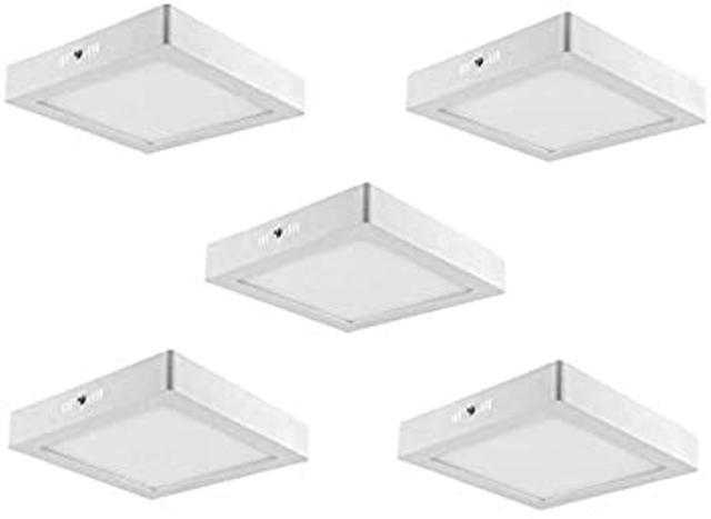 Imagem de Kit 5 Luminária Plafon Led De Sobrepor 18w Quadrado Branco Frio 6500K