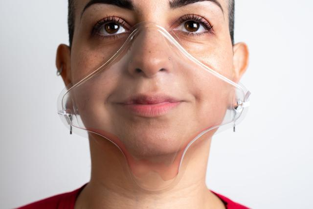 Imagem de Kit 5 Máscaras Sorriso Free Transparente Lavável Reutilizável Anti-Respingo