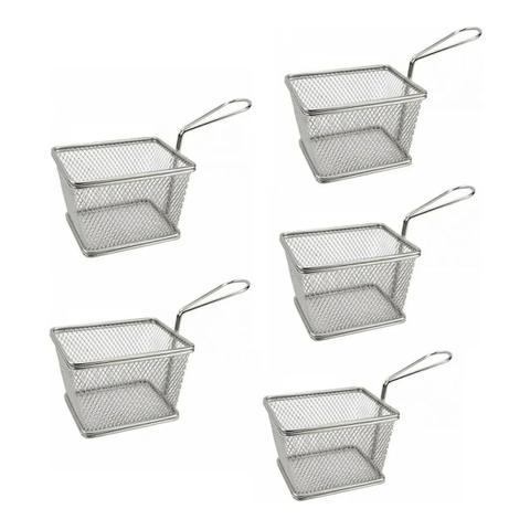 Imagem de Kit 5 Mini Cesta Inox Para Servir Petisco Fritas Porções Fritura Batatas