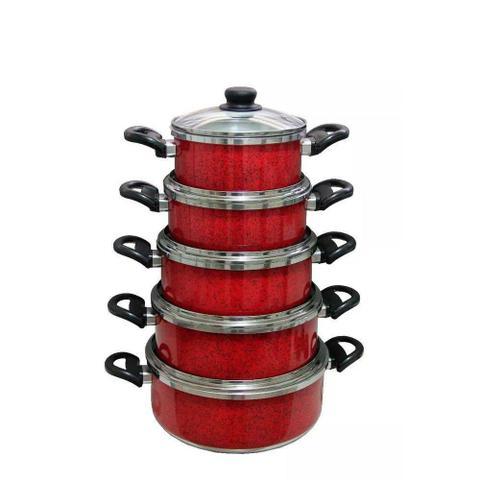 Imagem de Kit 5 Panelas Vermelho Aluminio Batido Grosso Com Tampas De Vidro Premium