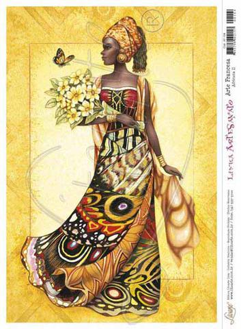 Imagem de Kit 5 Papel Decoupage Arte Francesa Africana II AF-104 31,1x21,1cm Litoarte