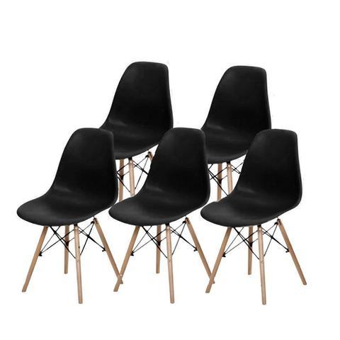 Imagem de Kit 5 peças cadeira charles eames wood design dsw