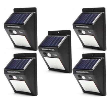 Imagem de Kit 5 Refletor Luminária Placa Solar 30 Led Parede Jardim Piscina Sensor Movimento Resistente Sol e Chuva
