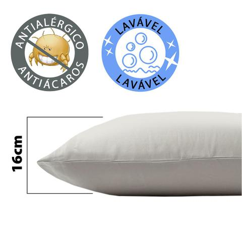 Imagem de Kit 5 Travesseiro Antialérgico Lavável Macio Fibra 50x70cm BF Colchões