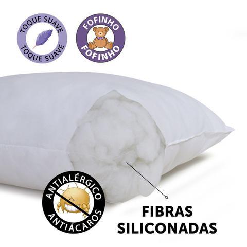 Imagem de Kit 5 Travesseiro Fibra Siliconada Antialérgico Macio 45x65cm BF Colchões