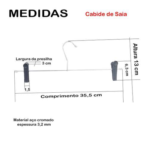 Imagem de Kit 50 Cabide para Saia em Aço Cromado Reforçado com Presilhas Organizador Quartos e Closets Passerini