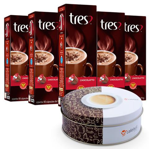 Imagem de Kit 50 Cápsulas Três Corações Chocolate Quente Ganhe Lata Personalizada e Exclusiva Café Fácil