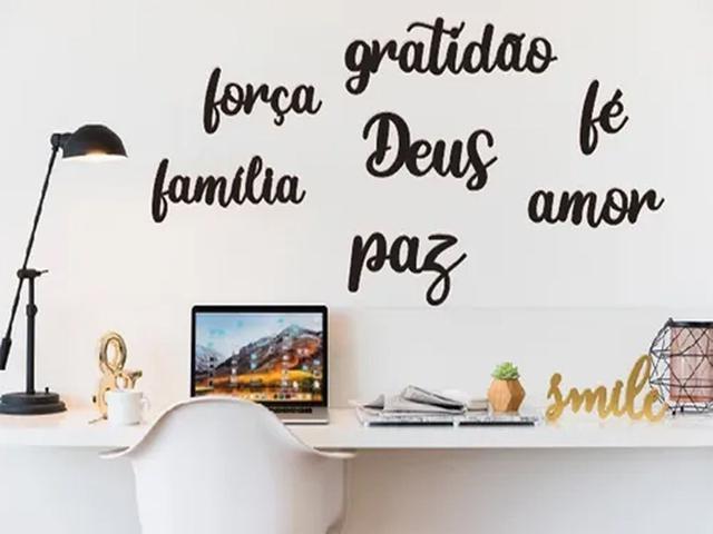 Imagem de Kit 6 Apliques Palavras Gratidão Família Amor Fé Deus Mdf
