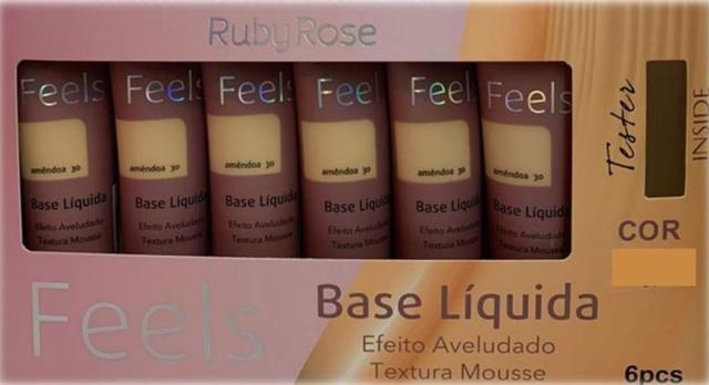 Imagem de Kit 6 Bases Matte Ruby Rose Liquida Feels Atacado Cores