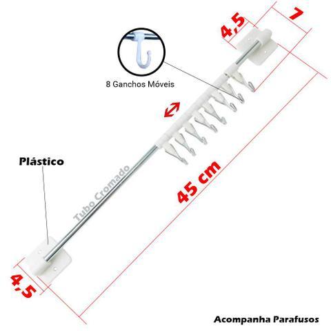 Imagem de Kit 6 Cabideiro 8 Ganchos Móveis Organizador de Roupas para Porta ou Armário Closet Guarda Roupa