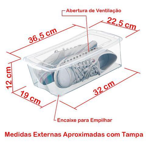 Imagem de Kit 6 Caixas Organizadoras para Sapatos 36x22x12 cm Modelo Grande Organizador Arthi