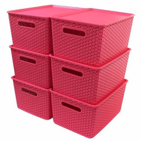 Imagem de Kit 6 Caixas Organizadoras Rattan Empilhável Grande Rosa