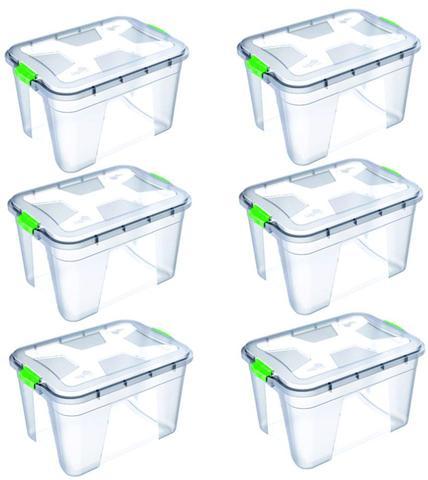 Imagem de Kit 6 Caixas Organizadoras Transparente 56 Litros - Uninjet