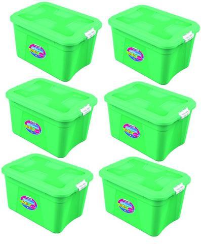 Imagem de Kit 6 Caixas Organizadoras Verona Verde 56 Litros c/ Trava Uninjet