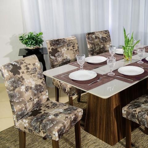 Imagem de Kit 6 Capa de Cadeira Mesa Sala Jantar Elástico Adele