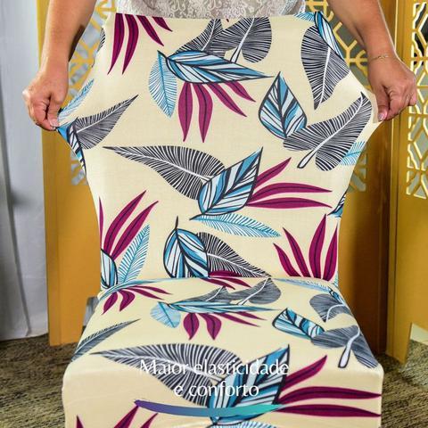 Imagem de Kit 6 Capa de Cadeira Spandex Mesa Sala Jantar Helicônias