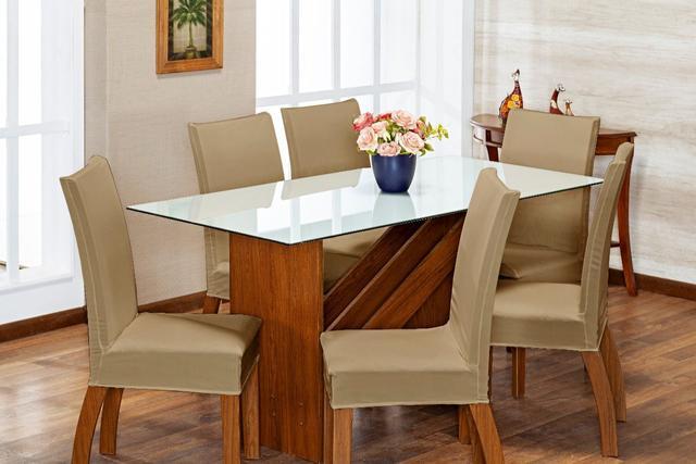 Imagem de Kit 6 Capas Para Cadeira Jantar Malha Com Elástico Bege
