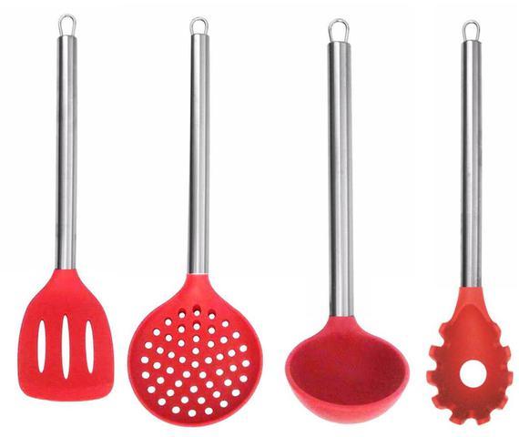 Imagem de Kit 6 Colheres Utensílios Silicone Vermelho Cabo Inox Concha Espátula Pegador Escumadeira