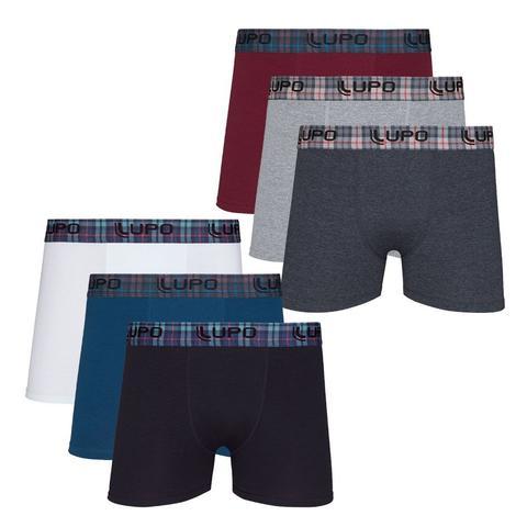 Imagem de Kit 6 Cuecas Lupo Boxer Box Algodão Elastano Cotton 603
