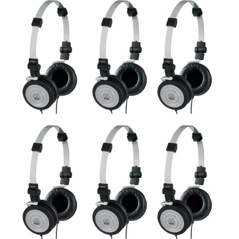 Fone de Ouvido Kit 6 Unid Headphone Original Preto Akg K414p