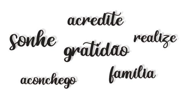 Imagem de kit 6 Palavras Lettering em Mdf Parede:  sonhe, realize, acredite, família...