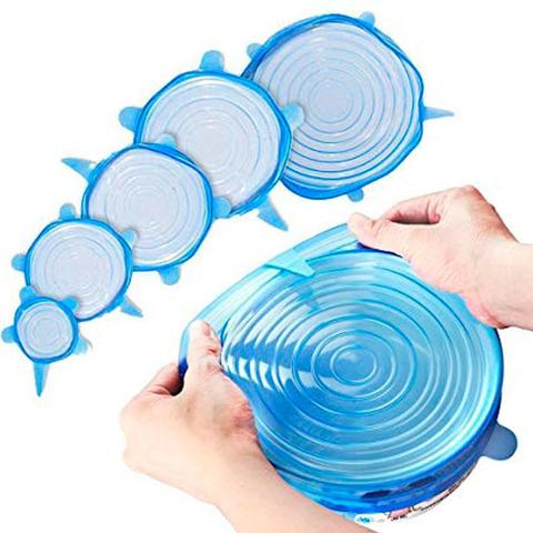 Imagem de Kit 6 Tampas Silicone Universal Pote Panela Pote Forma Reutilizável Elástico