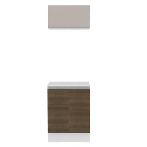 Imagem de Kit 60 cm Madesa Smart 100% MDF 2 Portas e 1 Suspensa Com Tampo - Branco/Rustic/Crema