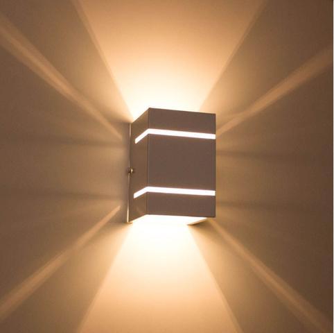 Imagem de kit 6x Arandela  Preta + LED 5W 3000K luminária Externa Parede Muro 2 Focos Frisos Fachos St327