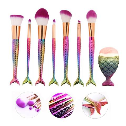 Imagem de Kit 7 Pincéis para Maquiagem Sereia Colors com 1 pincel de contorno