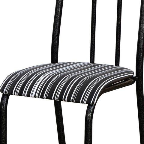 Imagem de Kit 8 Cadeiras 056 América Cromo/Preto Listrado - Artefamol