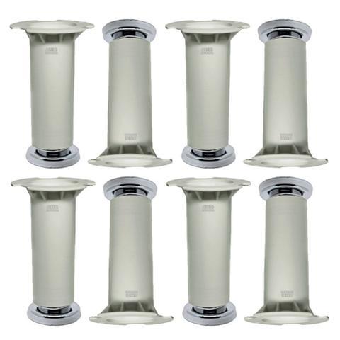 Imagem de Kit 8 - Pé Branco Para Móveis De Aço Itatiaia De 16 a 18cm Com Regulagem Genuíno