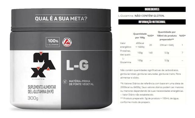 Imagem de Kit 8x Glutamina 100% Pura L-g 300g (2400 kg) Max Titanium Oferta