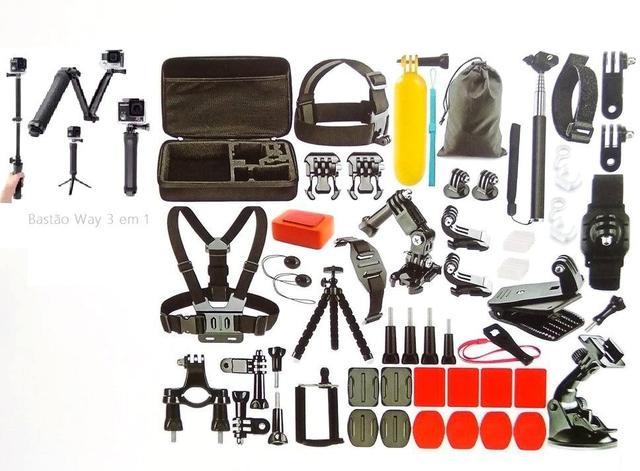 Imagem de Kit Acessórios Action Câmera 55 Em 1Gopro Hero Black 6 7 Session Tripé Way 3 Em 1